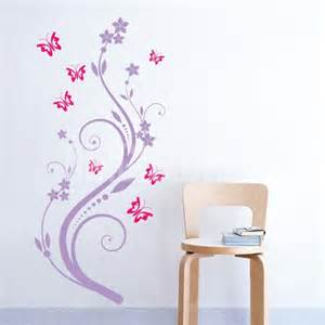 Wall Stickers Butterflies And Flowers Wall Decals Flower Vine And Butterflies Wall Stickers
