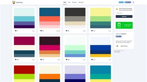 color hunt fast color scheme palettes tools and generators for