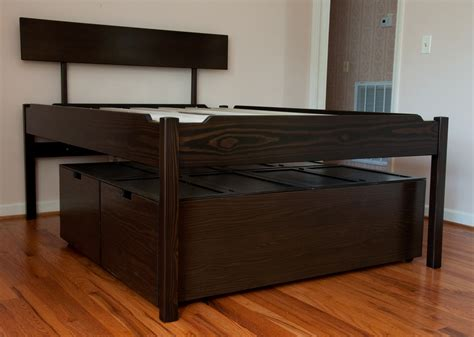 elevated bed frame plans high platform bed plans woodideas