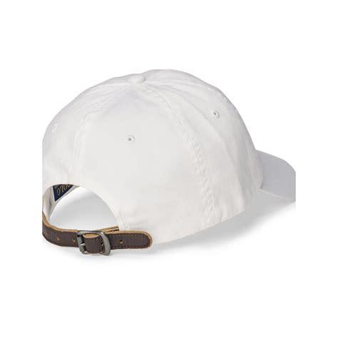 Polo Cap White polo ralph embroidered chino baseball cap in white