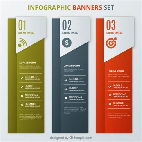 Infographic Banners Template Set I Free Vector Infographics Pinterest Infographics Web Table Banner Template