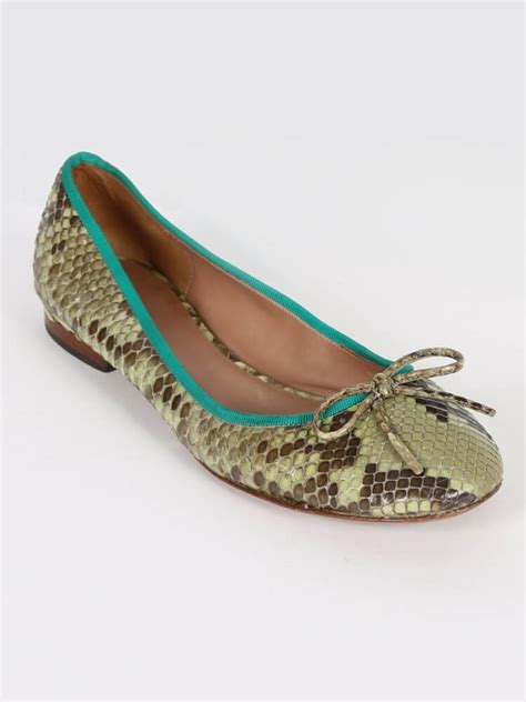 Green Barjad Api High Quality 100 c 233 line python leather green ballerinas 39 luxury bags