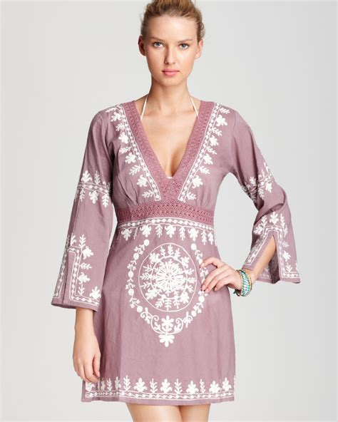 Debie Abu Pink Dress debbie katz cover up dress soraya embroidered in pink mystic white lyst