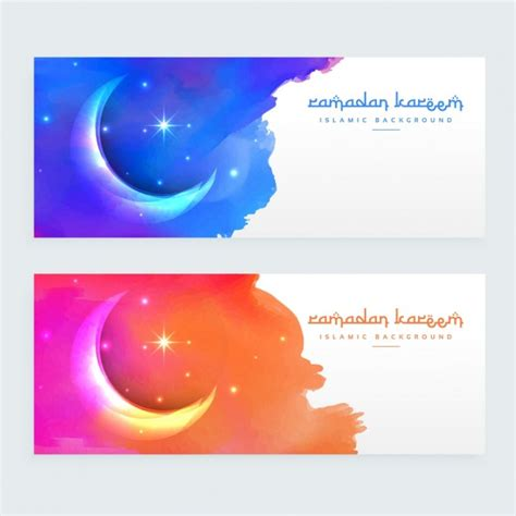 design banner islamic islamic moon banners vector free download