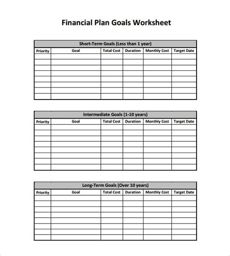 Financial Plan Template Excel by Financial Plan Templates 10 Free Word Excel Pdf