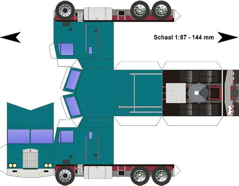 Papercraft 3d Model - lorry papercraft kenworth k100 cabover blauwgroen