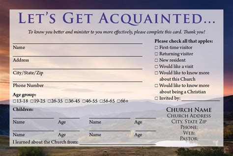 guest card template church visitor card template template design