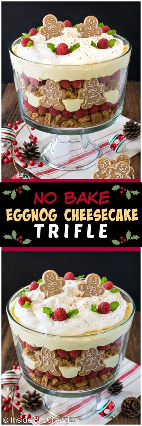 easy yummie desserts for christmas party by six sisters no bake eggnog cheesecake trifle layers of cookies berries cheesecake creates an