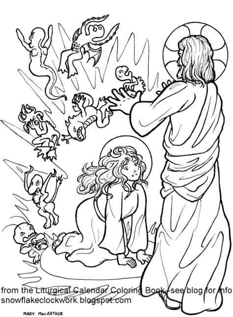 snowflake clockwork st mary magdalen coloring page