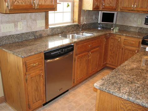 Golden Cabinets by Granite Countertops With Golden Oak Cabinets Cleanerla
