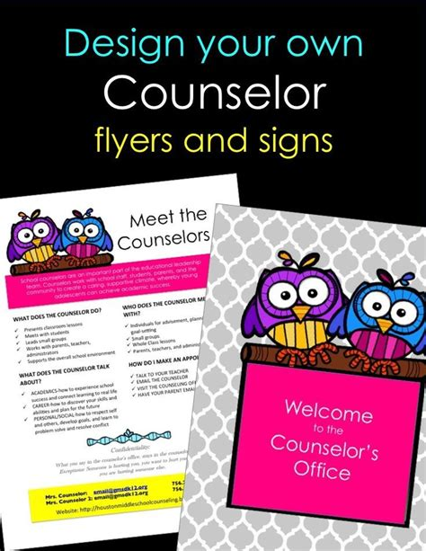 Personalized Counselor Flyers And Signs Guidance Lessons Counseling Office And Ice Breakers School Counseling Brochure Template