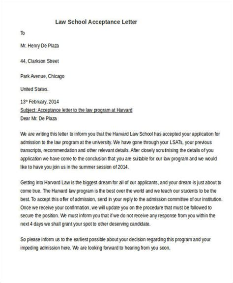 Acceptance Letter In School awesome letter of acceptance how to format a cover letter