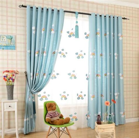 Baby Blue Curtains Nursery Cheap Rainbow Baby Blue Embossed Nursery Curtains
