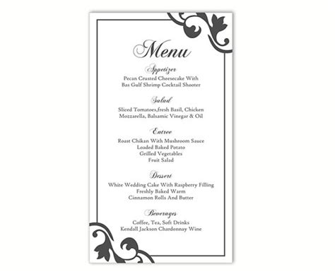 wedding menu template word wedding menu template diy menu card template editable text