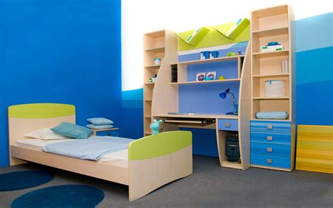 Bedroom colors for kids with minimalist simple single bed and study