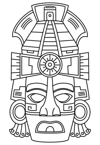 ancient masks template mayan mask coloring page free printable coloring pages