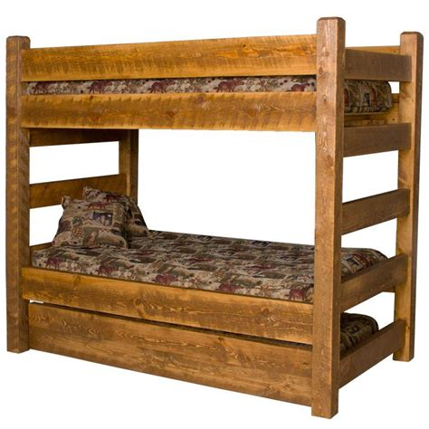 Barnwood Bunk Bed Beds And Headboards Barnwood Bunk Bed W Trundle Bw73