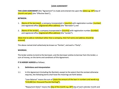 Loan Agreement Template Uk Template Agreements And Sle Contracts Mortgage Agreement Template Uk