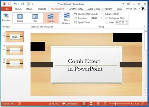 When To Use The Comb Transition Effect In Powerpoint Page Turning Effect In Powerpoint
