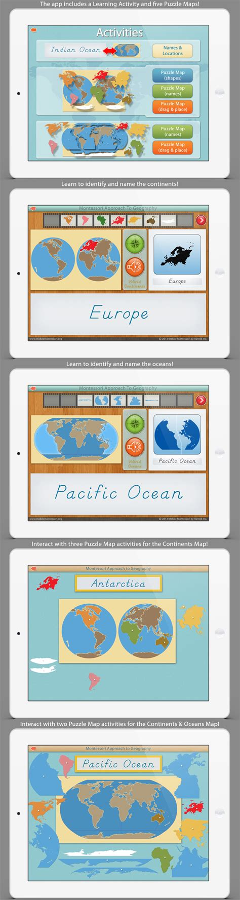 montessori mobile printable world continents oceans app by mobile montessori our