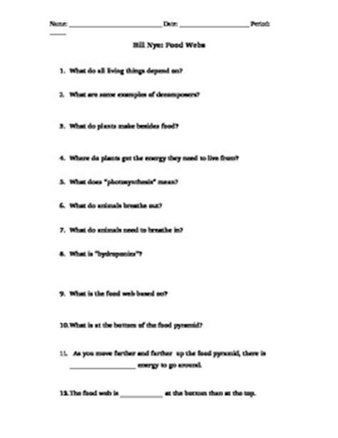 Bill Nye Food Web Worksheet