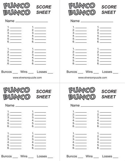 Printable Bunco Score Sheets