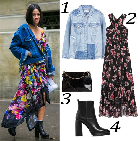 Jaket Anti Panas Kombi 1 Korean Style popbelaootd kombinasi denim dan dress floral yang edgy