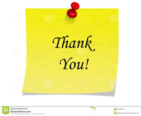 Thank You Note For It Post It Note With Message Thank You Stock Illustration Image 40319915