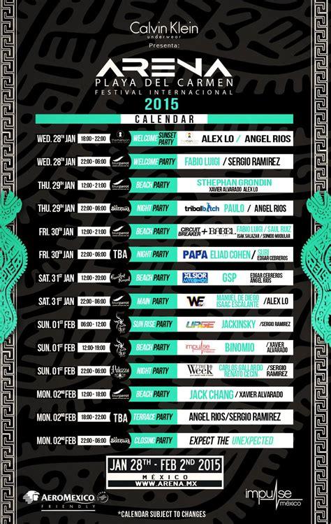 Calendario Arena 2015 Festival Arena 2015 Playa