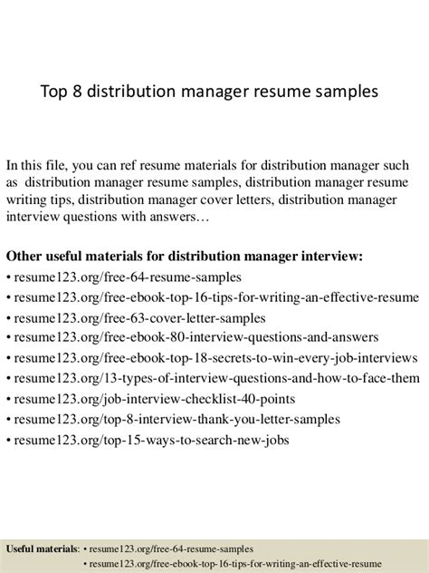 Distribution Manager Sle Resume by Top 8 Distribution Manager Resume Sles
