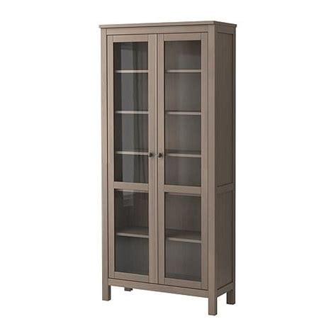hemnes glass door cabinet gray brown ikea