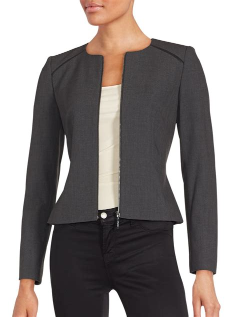Jaket Calvin Klein Kntng Besar Zip calvin klein solid zip front jacket in gray lyst