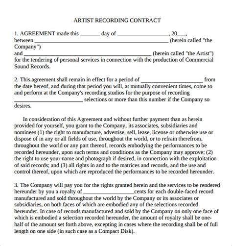 9 Artist Contract Templates Download For Free Sle Templates Artist Management Contract Template Free