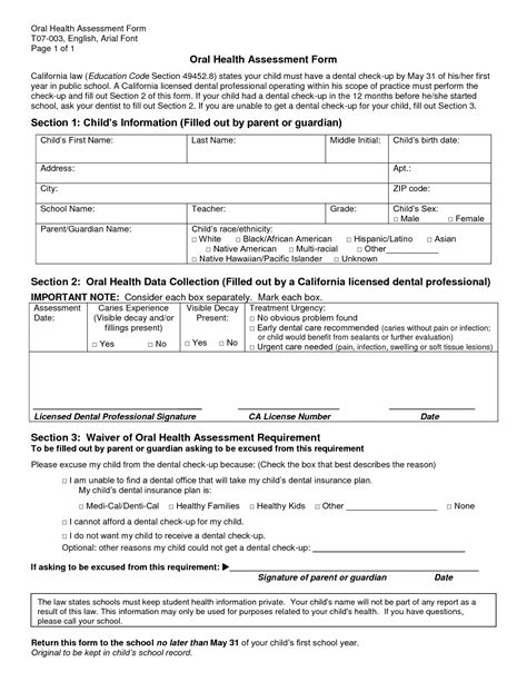health risk assessment forms printable 9 best images of health assessment form printable health