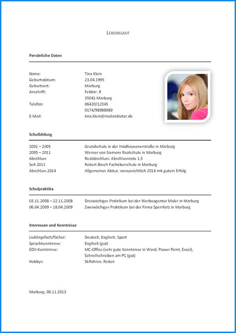 Lebenslauf Muster Schuler Openoffice 8 Tabellarischer Lebenslauf Sch 252 Ler Business Template