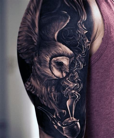 owl tattoo guy 70 owl tattoos for men creature of the night designs