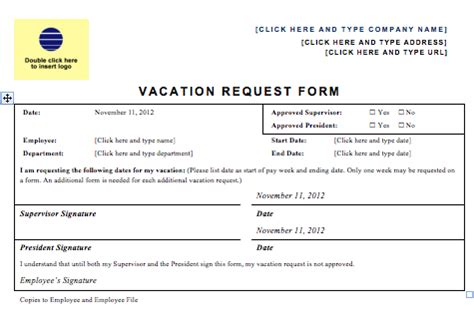 vacation request form template vacation request forms excel free calendar template 2016