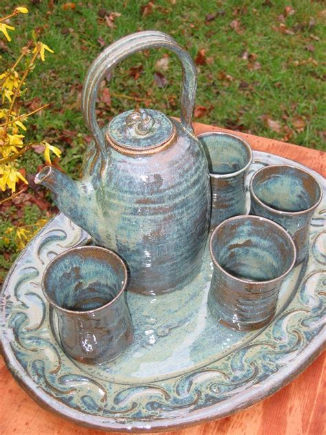 Handmade Tea Set - pottery tea set stoneware handmade tea pot cups 0212007