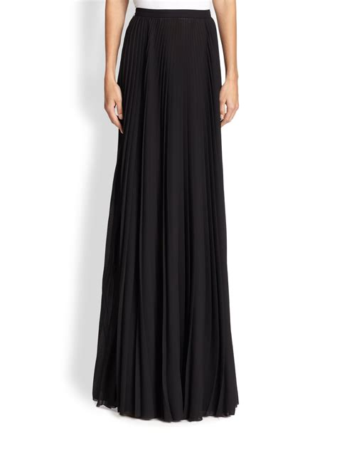 tess giberson pleated maxi skirt in black lyst