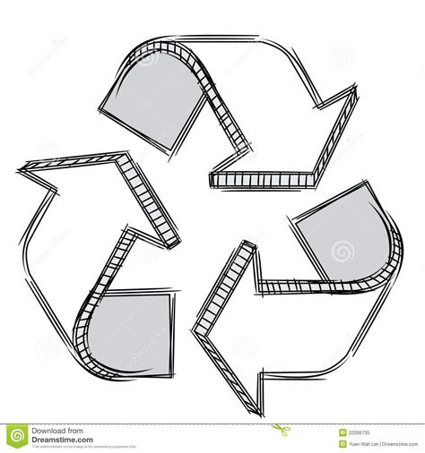 doodle sign on doodle of a recycle sign royalty free stock photo image