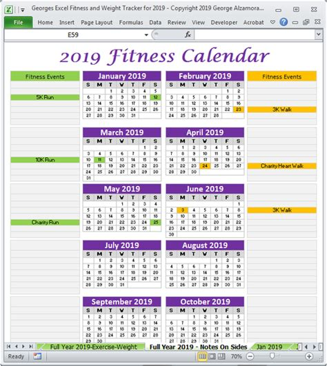 excel fitness weight tracker  year  spreadsheet printable buyexceltemplatescom