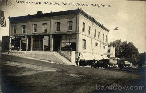 Williams Bay Post Office by Post Office Block Williams Bay Wi Postcard