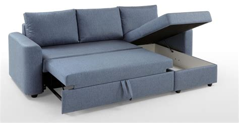 Albie Right Hand Facing Corner Storage Sofa Bed Denim Denim Sofa Bed