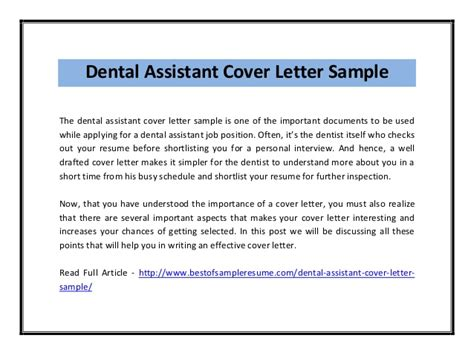 dental assistant cover letter dental assistant cover letter sle pdf