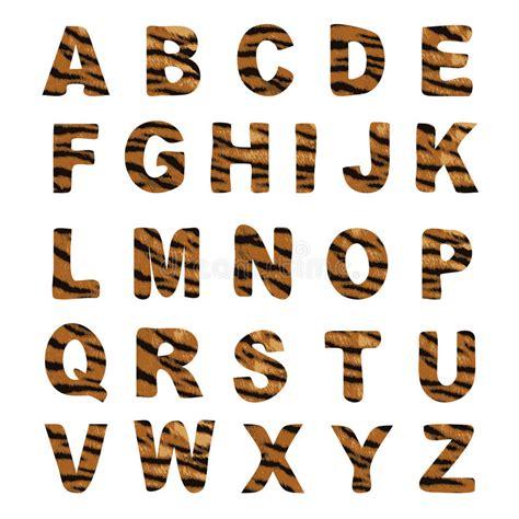 tiger pattern font trendy alphabet set tiger pattern design stock vector