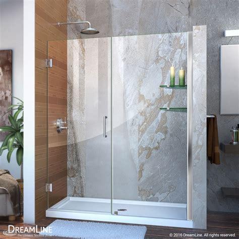 Unidoor Shower Door Unidoor 53 61 Hinged Shower Door With Glass Shelves Dreamline