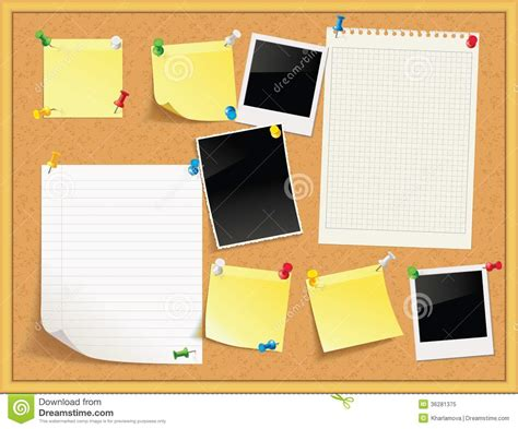 Message Board items pinned to a cork message board with wood frame stock vector image 36281375
