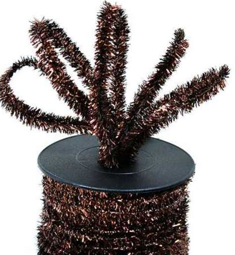 chocolate brown wired tinsel garland 25 yards ribbon