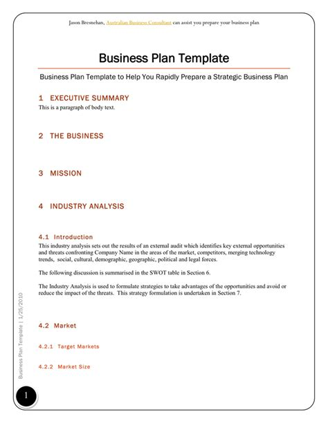 business plan template in word and pdf formats page 2 of 14