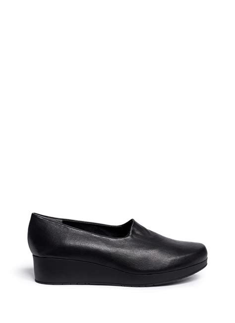 robert clergerie naloj leather wedge platform slip ons